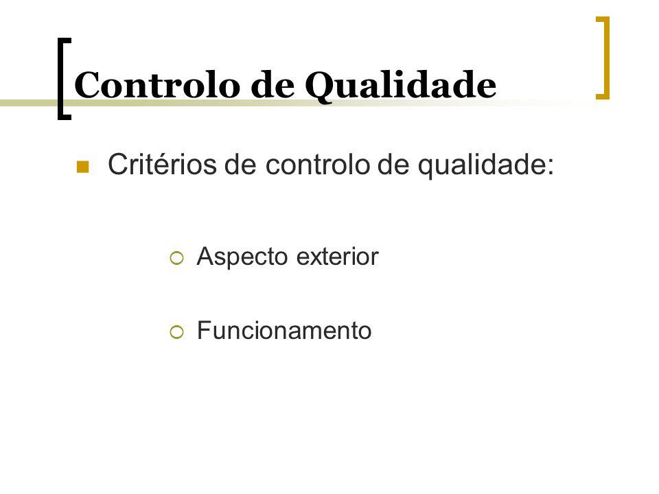 Controlo de Qualidade Critérios de controlo de qualidade: Aspecto exterior Funcionamento