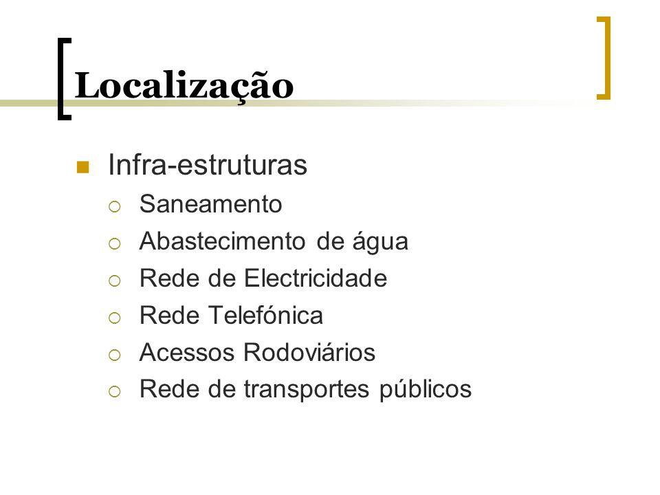 Localização Infra-estruturas Saneamento Abastecimento de água Rede de Electricidade Rede Telefónica Acessos Rodoviários Rede de transportes públicos
