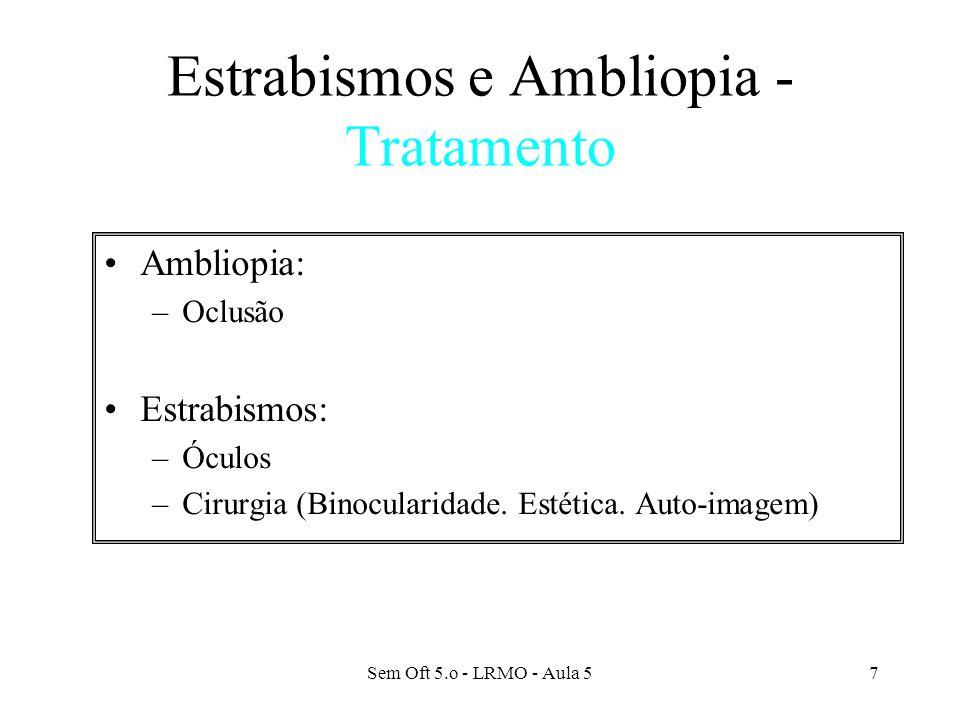 Sem Oft 5.o - LRMO - Aula 58 ESTRABISMOS E AMBLIOPIA Descobrir precocemente é a base do êxito.