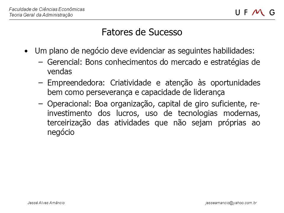Faculdade de Ciências Econômicas Teoria Geral da Administração Jessé Alves Amâncio jesseamancio@yahoo.com.br Fatores de Sucesso Um plano de negócio de
