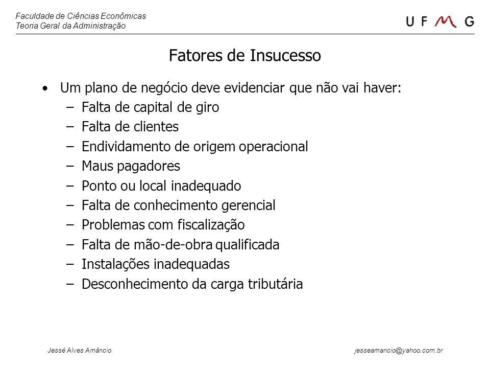 Faculdade de Ciências Econômicas Teoria Geral da Administração Jessé Alves Amâncio jesseamancio@yahoo.com.br Fatores de Insucesso Um plano de negócio