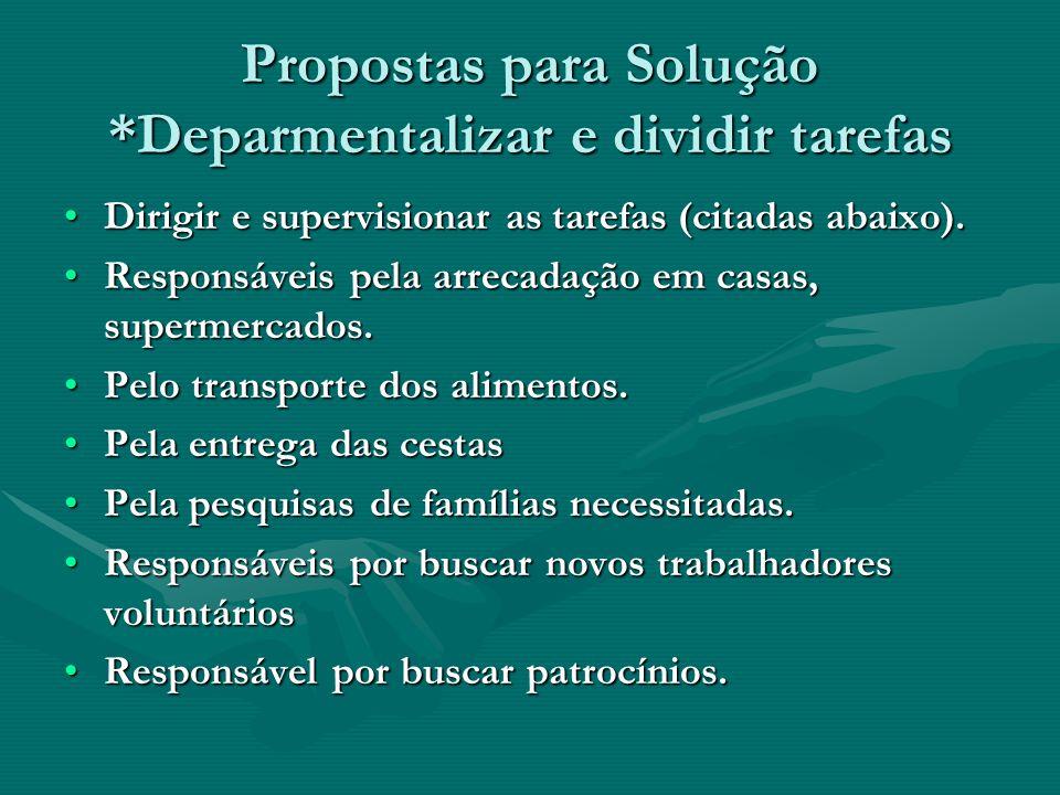 Propostas para Solução *Deparmentalizar e dividir tarefas Dirigir e supervisionar as tarefas (citadas abaixo).Dirigir e supervisionar as tarefas (cita