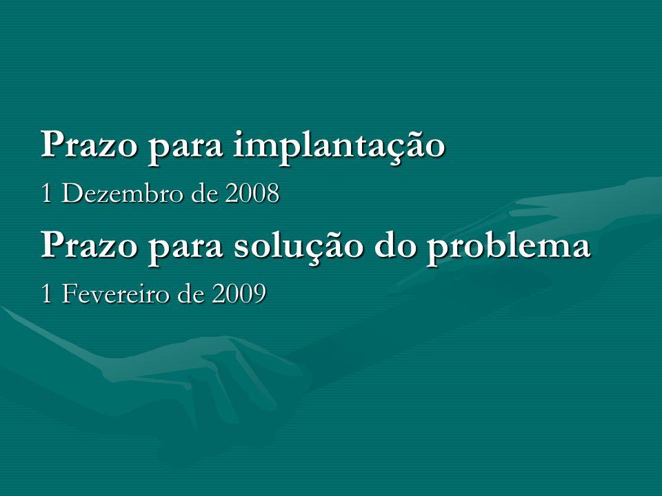 Prazo para implantação 1 Dezembro de 2008 Prazo para solução do problema 1 Fevereiro de 2009