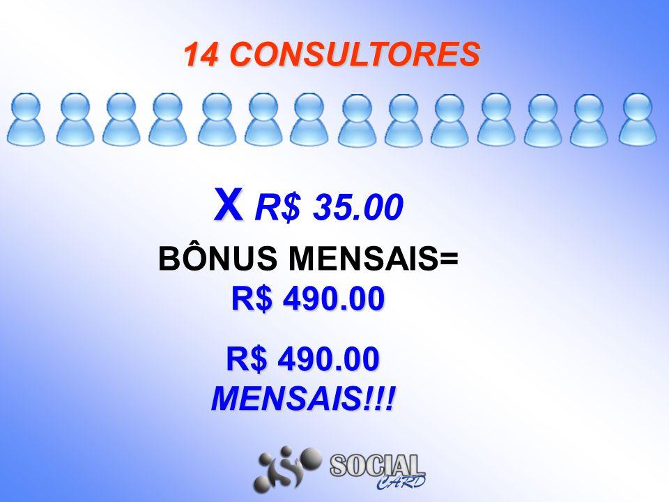 X X R$ 35.00 14 CONSULTORES R$ 490.00 BÔNUS MENSAIS= R$ 490.00 R$ 490.00 MENSAIS!!!