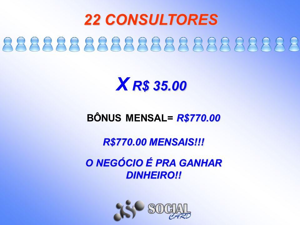 22CONSULTORES 22 CONSULTORES R$ 35.00 X R$ 35.00 R$770.00 BÔNUS MENSAL= R$770.00 R$770.00 MENSAIS!!! O NEGÓCIO É PRA GANHAR DINHEIRO!!