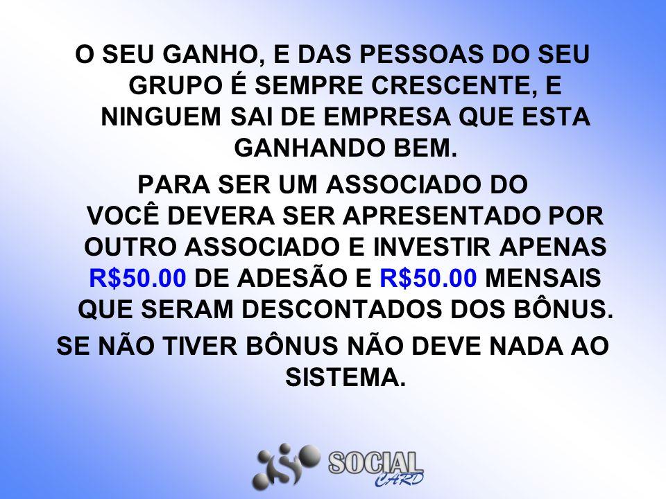 3 FORMAS DE GANHOS BÔNUS ADESÃO = R$35.00 POR INDICAÇÃO.