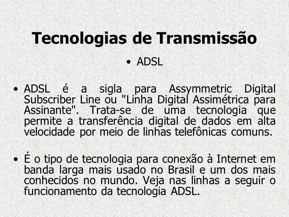 Tecnologias de Transmissão ADSL ADSL é a sigla para Assymmetric Digital Subscriber Line ou