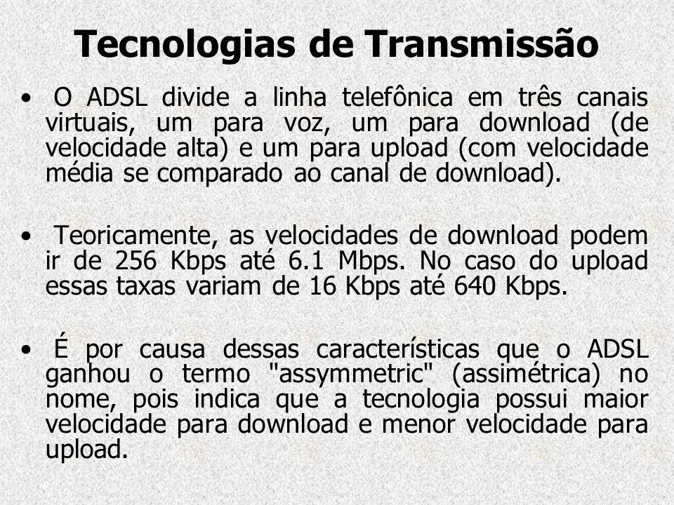 Tecnologias de Transmissão O ADSL divide a linha telefônica em três canais virtuais, um para voz, um para download (de velocidade alta) e um para uplo