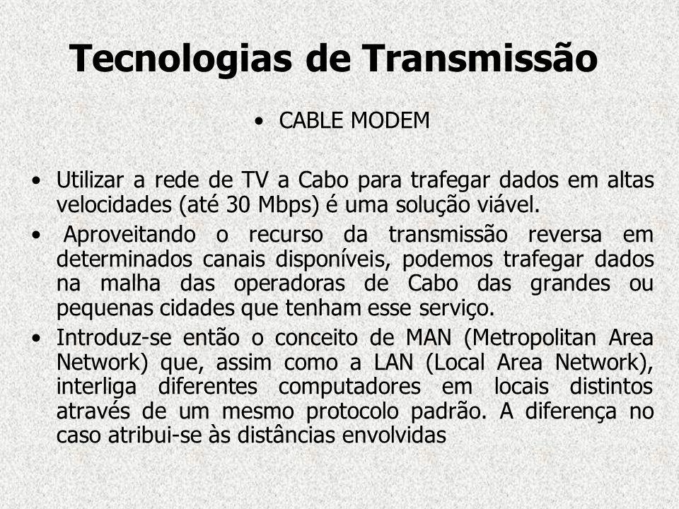 CABLE MODEM Utilizar a rede de TV a Cabo para trafegar dados em altas velocidades (até 30 Mbps) é uma solução viável. Aproveitando o recurso da transm