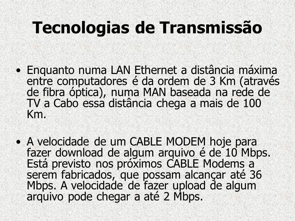 Tecnologias de Transmissão Enquanto numa LAN Ethernet a distância máxima entre computadores é da ordem de 3 Km (através de fibra óptica), numa MAN bas