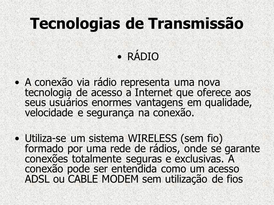 Tecnologias de Transmissão RÁDIO A conexão via rádio representa uma nova tecnologia de acesso a Internet que oferece aos seus usuários enormes vantage