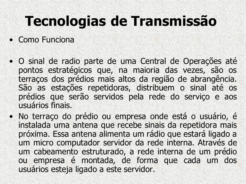 Tecnologias de Transmissão Como Funciona O sinal de radio parte de uma Central de Operações até pontos estratégicos que, na maioria das vezes, são os