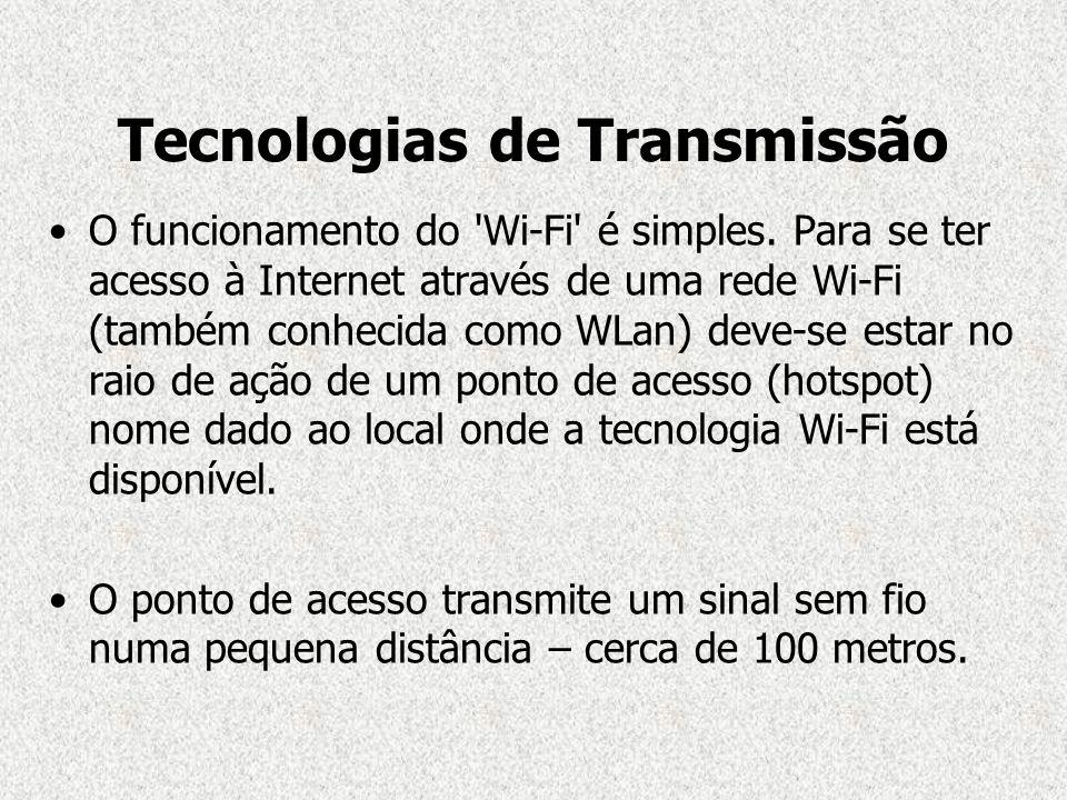 Tecnologias de Transmissão O funcionamento do 'Wi-Fi' é simples. Para se ter acesso à Internet através de uma rede Wi-Fi (também conhecida como WLan)