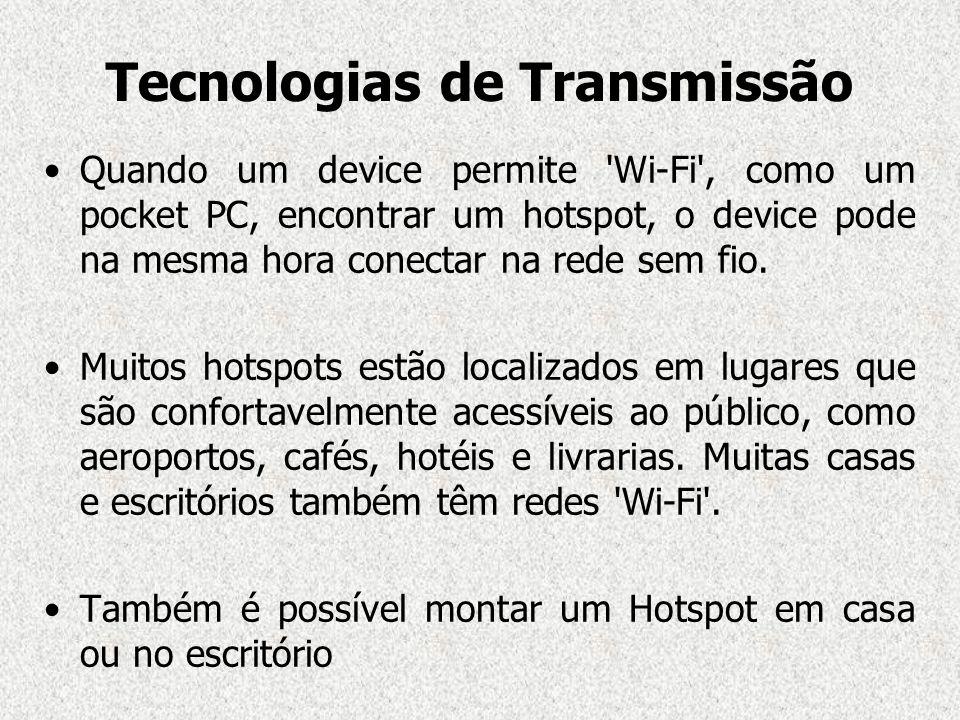 Tecnologias de Transmissão Quando um device permite 'Wi-Fi', como um pocket PC, encontrar um hotspot, o device pode na mesma hora conectar na rede sem