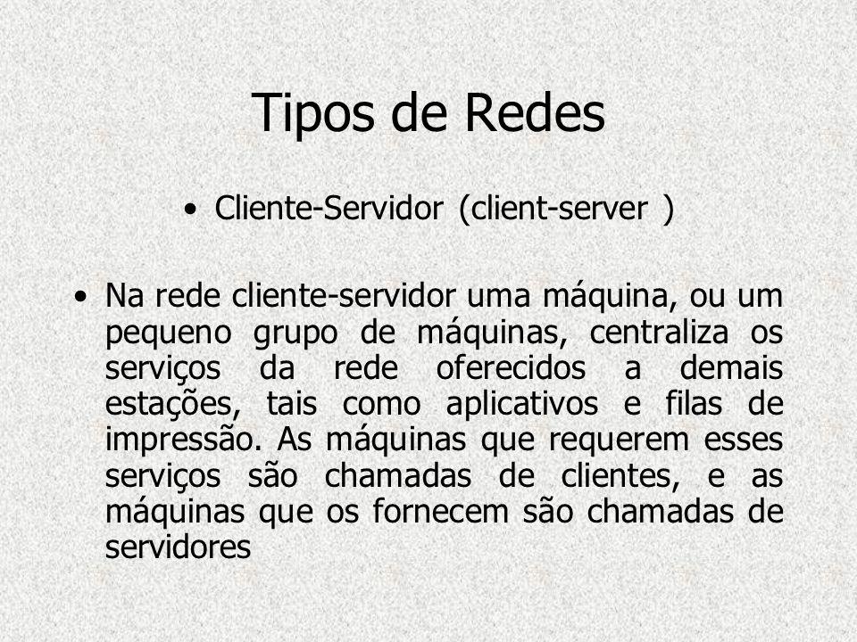 Tipos de Redes Cliente-Servidor (client-server ) Na rede cliente-servidor uma máquina, ou um pequeno grupo de máquinas, centraliza os serviços da rede