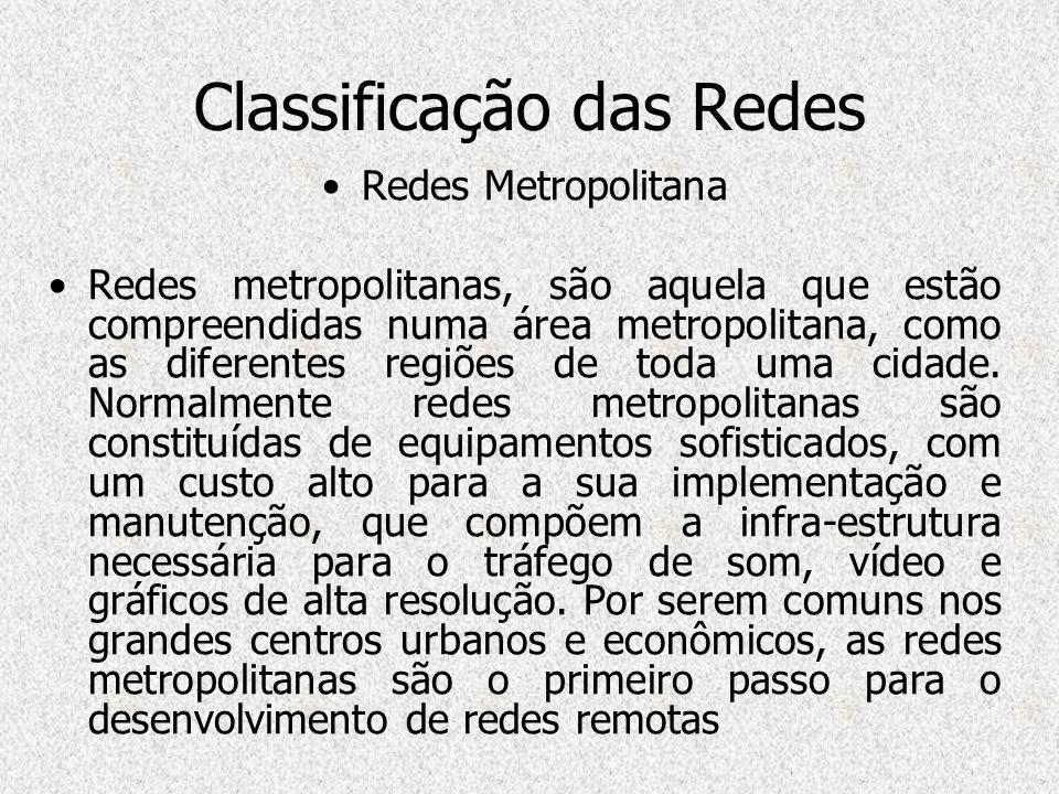 Classificação das Redes Redes Metropolitana Redes metropolitanas, são aquela que estão compreendidas numa área metropolitana, como as diferentes regiõ