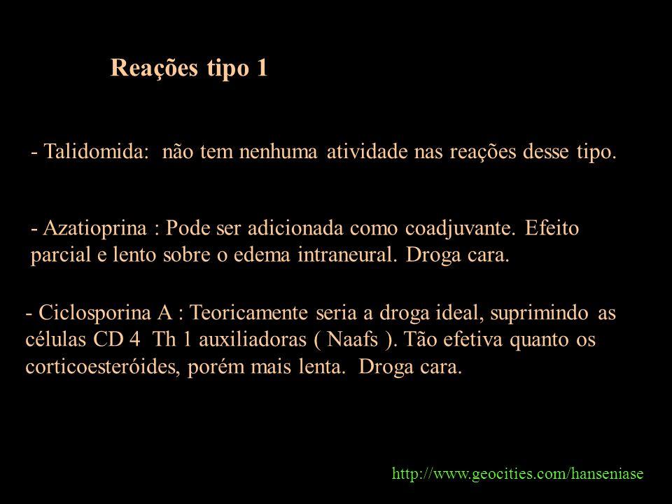 http://www.geocities.com/hanseniase Total: 3.370 Reações tipo 1 - Talidomida: não tem nenhuma atividade nas reações desse tipo. - Azatioprina : Pode s