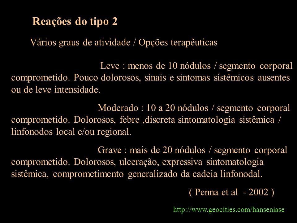 http://www.geocities.com/hanseniase Reações do tipo 2 Vários graus de atividade / Opções terapêuticas ( Penna et al - 2002 ) Leve : menos de 10 nódulos / segmento corporal comprometido.