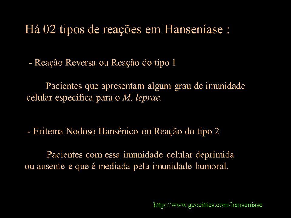 Há 02 tipos de reações em Hanseníase : http://www.geocities.com/hanseniase - Reação Reversa ou Reação do tipo 1 Pacientes que apresentam algum grau de