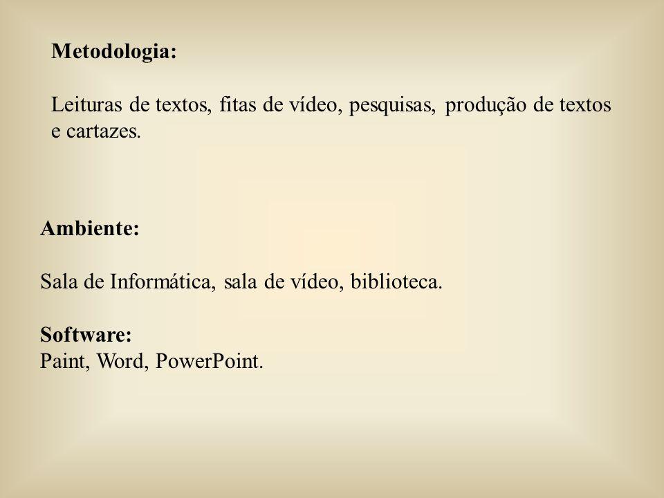 Metodologia: Leituras de textos, fitas de vídeo, pesquisas, produção de textos e cartazes.
