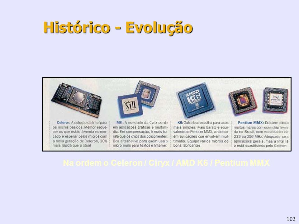 103 Na ordem o Celeron / Ciryx / AMD K6 / Pentium MMX Histórico - Evolução