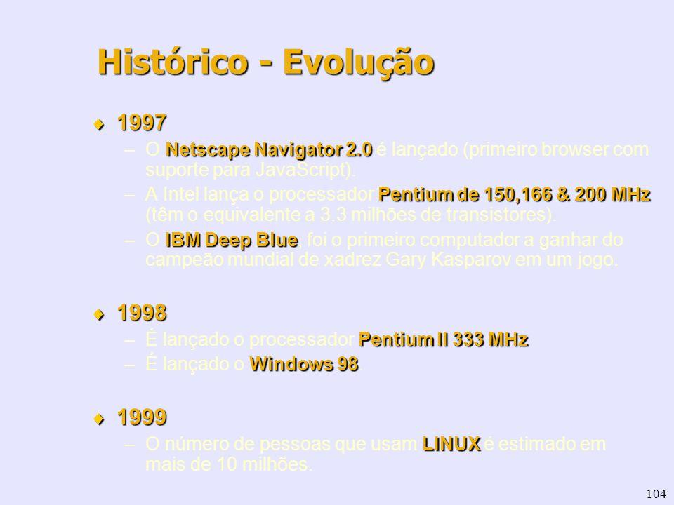 104 1997 1997 Netscape Navigator 2.0 –O Netscape Navigator 2.0 é lançado (primeiro browser com suporte para JavaScript). Pentium de 150,166 & 200 MHz