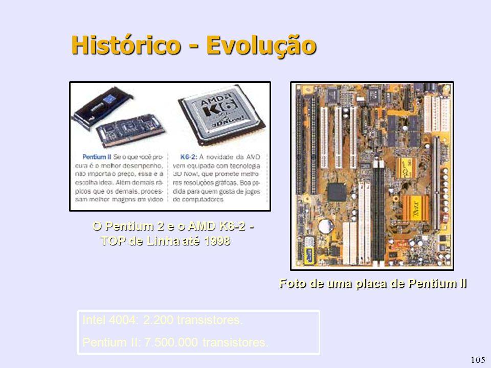 105 O Pentium 2 e o AMD K6-2 - TOP de Linha até 1998 Foto de uma placa de Pentium II Histórico - Evolução Intel 4004: 2.200 transistores. Pentium II: