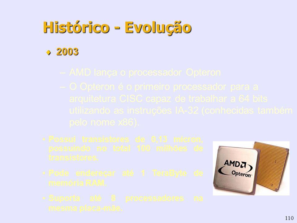 110 Histórico - Evolução 2003 2003 –AMD lança o processador Opteron –O Opteron é o primeiro processador para a arquitetura CISC capaz de trabalhar a 6