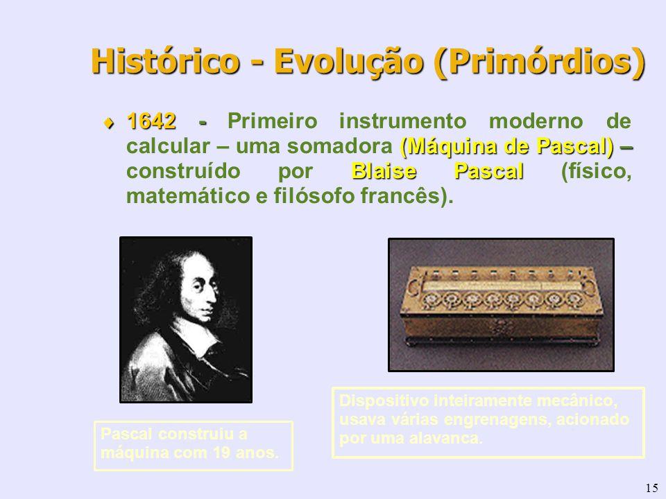 15 Histórico - Evolução (Primórdios) 1642 - (Máquina de Pascal) – Blaise Pascal 1642 - Primeiro instrumento moderno de calcular – uma somadora (Máquin