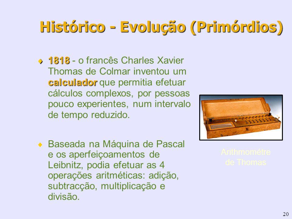20 1818 calculador 1818 - o francês Charles Xavier Thomas de Colmar inventou um calculador que permitia efetuar cálculos complexos, por pessoas pouco