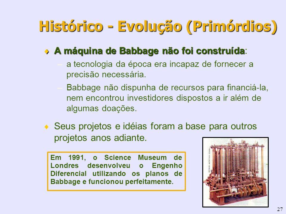 27 Histórico - Evolução (Primórdios) A máquina de Babbage não foi construída A máquina de Babbage não foi construída: –a tecnologia da época era incap