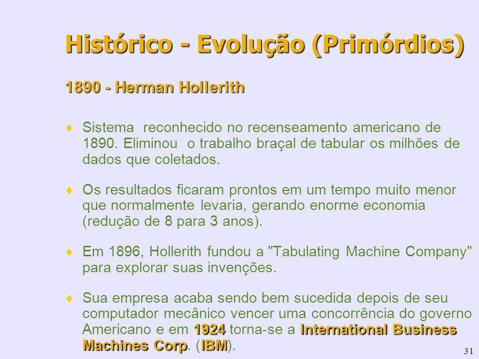 31 1890 - Herman Hollerith Sistema reconhecido no recenseamento americano de 1890. Eliminou o trabalho braçal de tabular os milhões de dados que colet