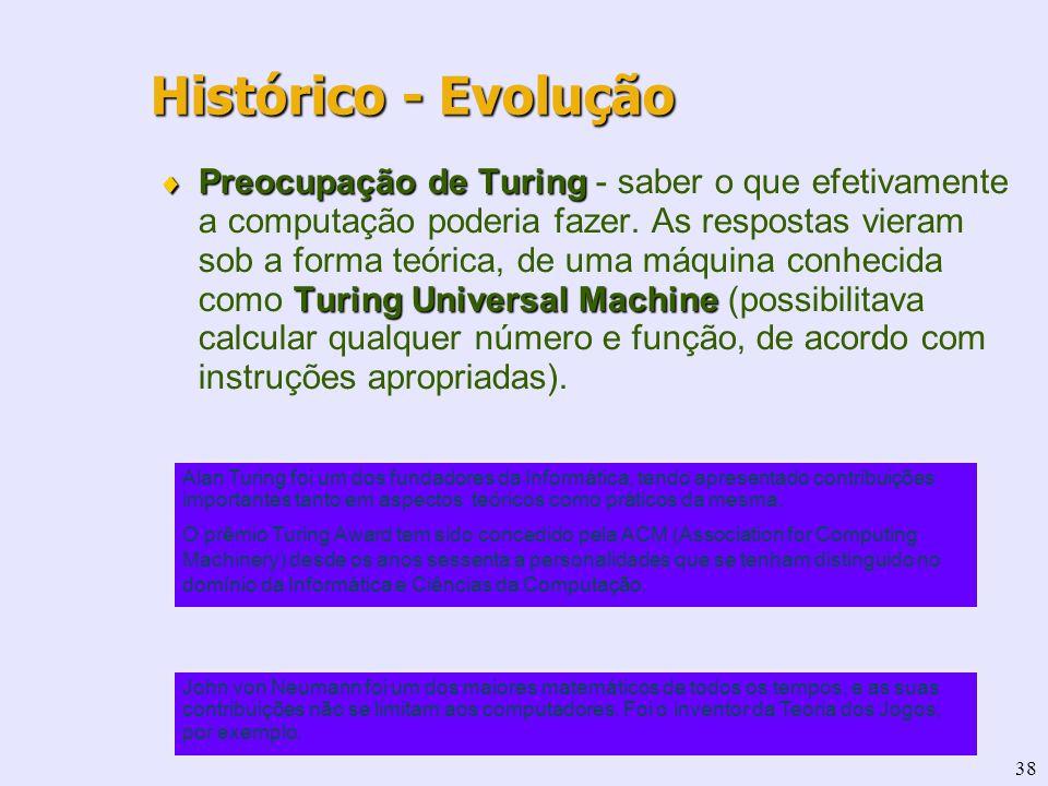 38 Preocupação de Turing Turing Universal Machine Preocupação de Turing - saber o que efetivamente a computação poderia fazer. As respostas vieram sob