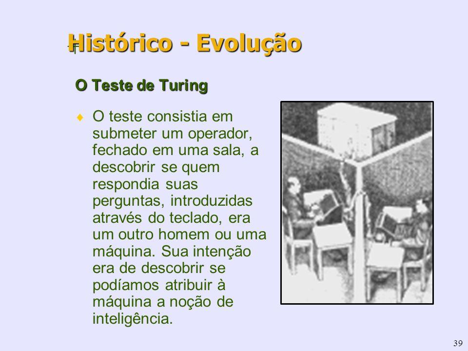 39 + O Teste de Turing O teste consistia em submeter um operador, fechado em uma sala, a descobrir se quem respondia suas perguntas, introduzidas atra
