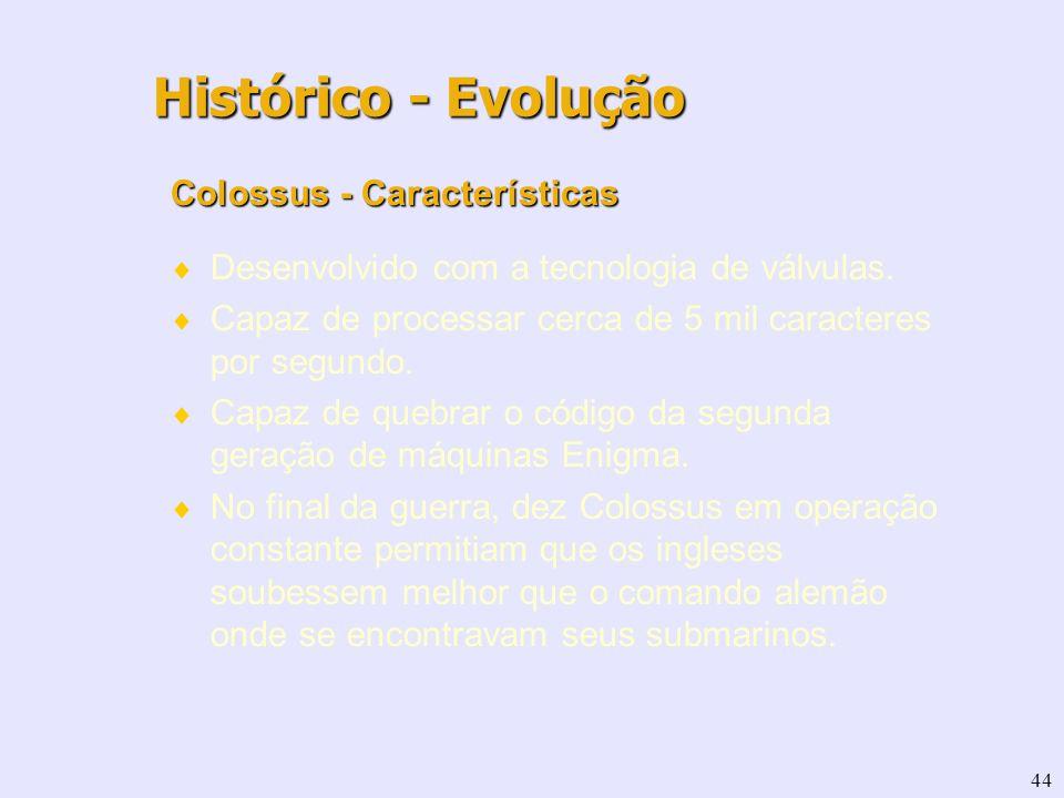 44 Colossus - Características Desenvolvido com a tecnologia de válvulas. Capaz de processar cerca de 5 mil caracteres por segundo. Capaz de quebrar o