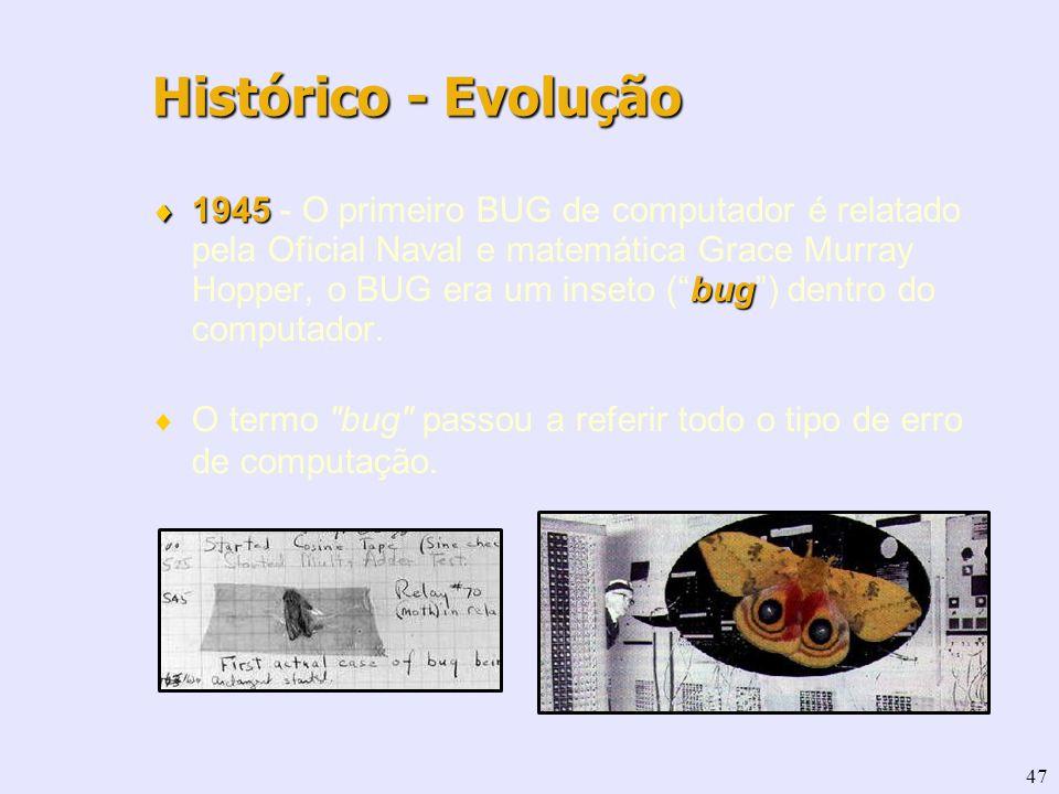 47 1945 bug 1945 - O primeiro BUG de computador é relatado pela Oficial Naval e matemática Grace Murray Hopper, o BUG era um inseto (bug) dentro do co
