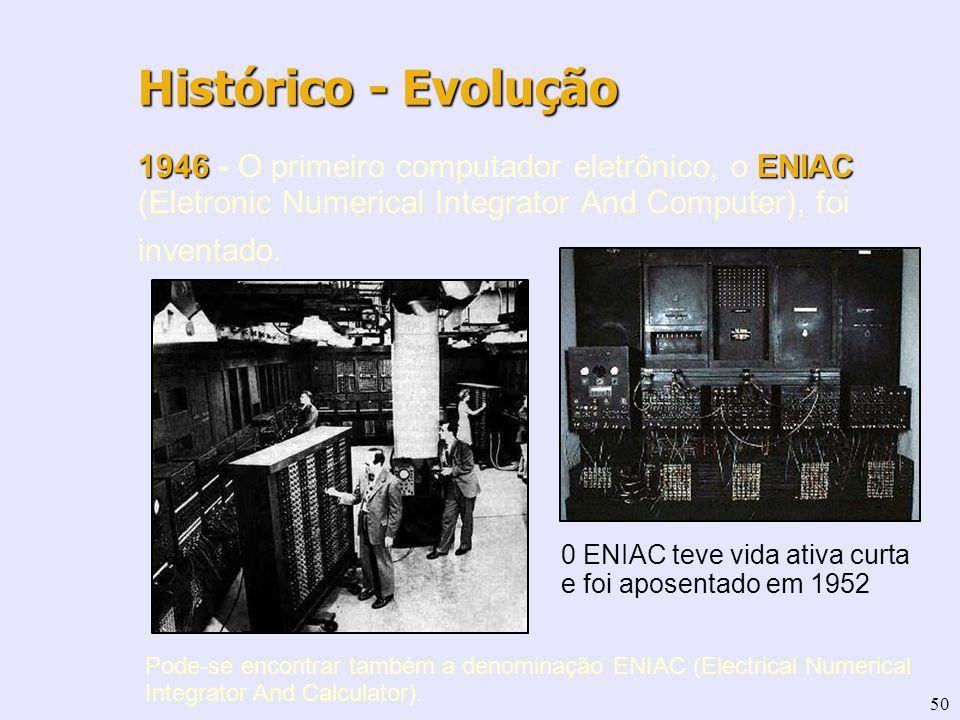 50 1946 ENIAC 1946 - O primeiro computador eletrônico, o ENIAC (Eletronic Numerical Integrator And Computer), foi inventado. Histórico - Evolução 0 EN