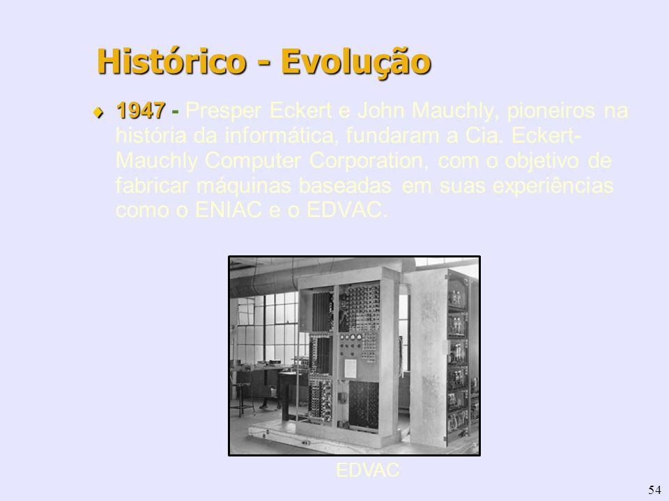 54 1947 1947 - Presper Eckert e John Mauchly, pioneiros na história da informática, fundaram a Cia. Eckert- Mauchly Computer Corporation, com o objeti