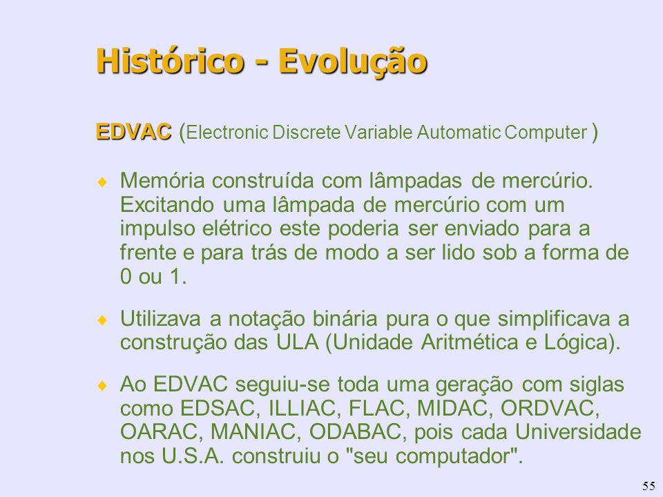 55 EDVAC EDVAC ( Electronic Discrete Variable Automatic Computer ) Memória construída com lâmpadas de mercúrio. Excitando uma lâmpada de mercúrio com