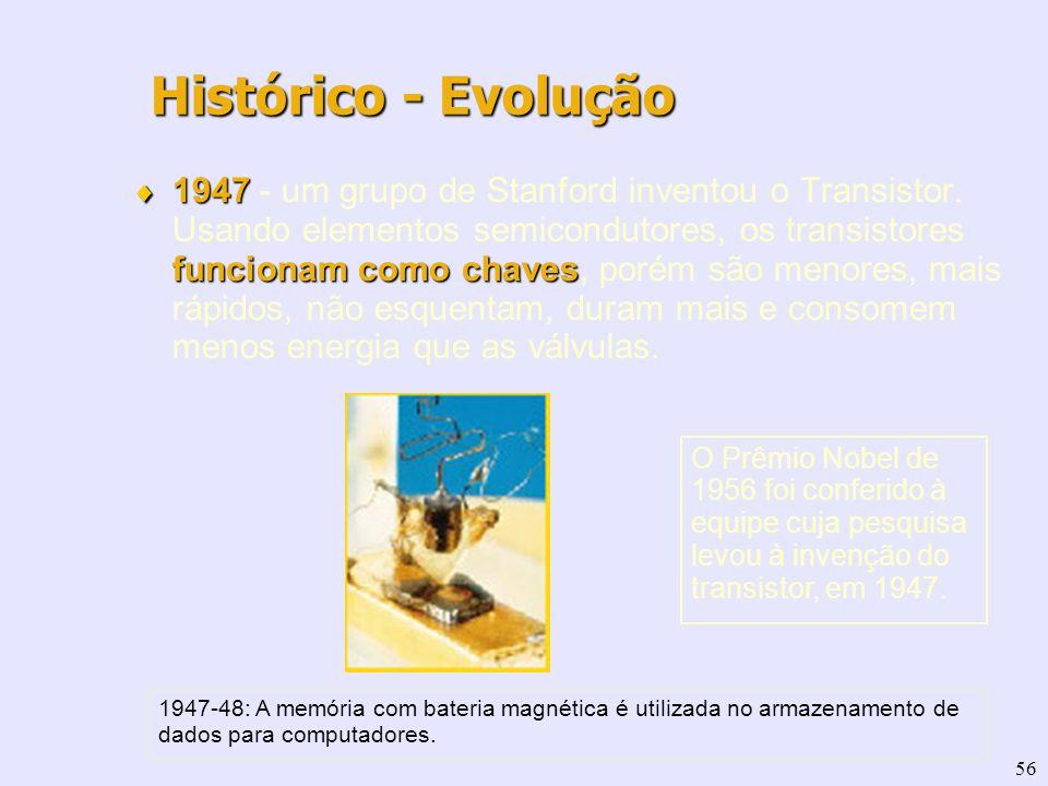 56 1947 funcionam como chaves 1947 - um grupo de Stanford inventou o Transistor. Usando elementos semicondutores, os transistores funcionam como chave