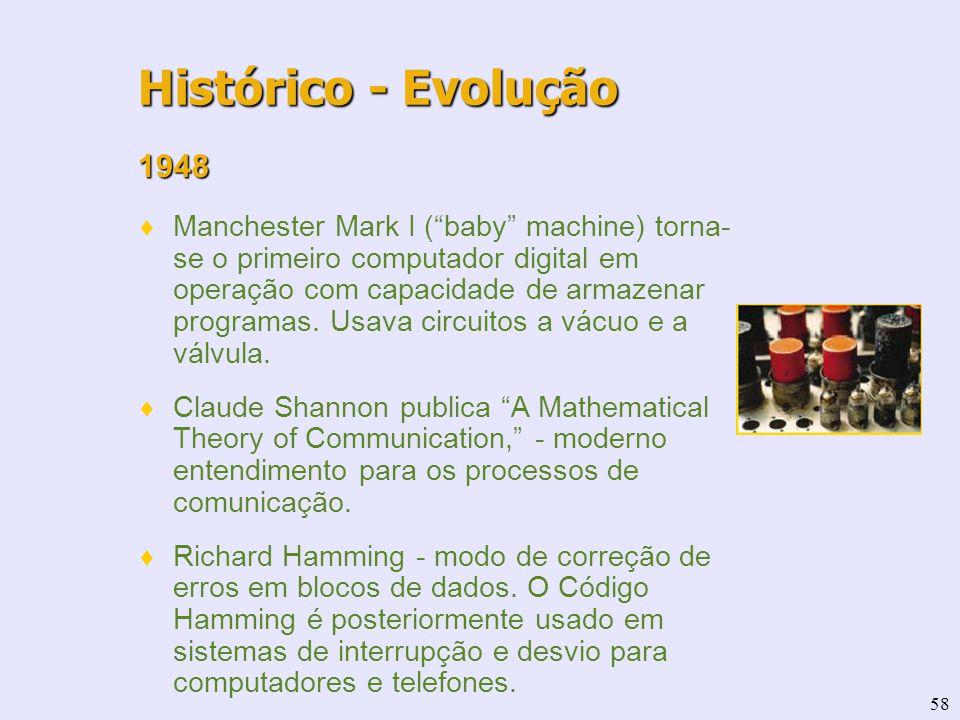58 1948 Manchester Mark I (baby machine) torna- se o primeiro computador digital em operação com capacidade de armazenar programas. Usava circuitos a