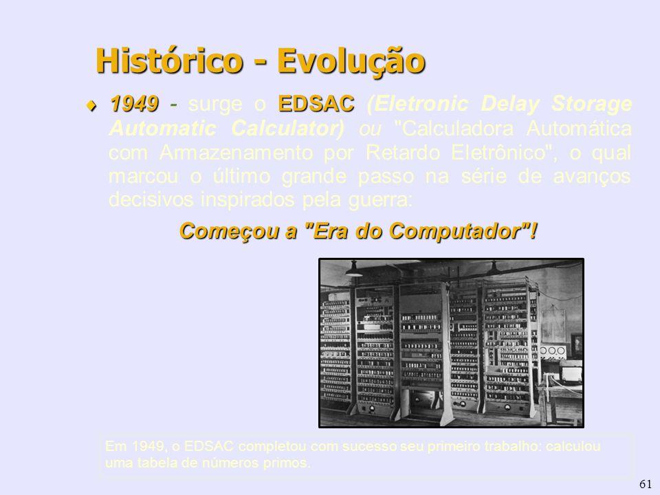 61 1949 EDSAC 1949 - surge o EDSAC (Eletronic Delay Storage Automatic Calculator) ou