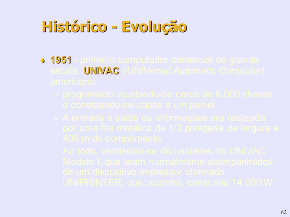 63 1951 UNIVAC 1951 - primeiro computador comercial de grande escala, UNIVAC (UNIVersal Automatic Computer) americano. –programado ajustando-se cerca