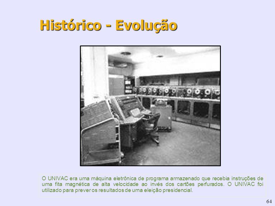 64 O UNIVAC era uma máquina eletrônica de programa armazenado que recebia instruções de uma fita magnética de alta velocidade ao invés dos cartões per