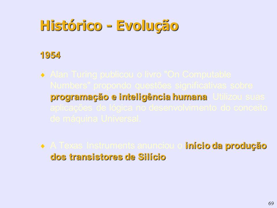 69 1954 programação e inteligência humana Alan Turing publicou o livro