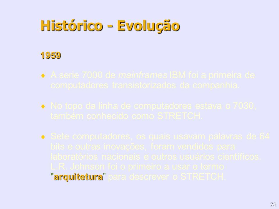 73 1959 A serie 7000 de mainframes IBM foi a primeira de computadores transistorizados da companhia. No topo da linha de computadores estava o 7030, t