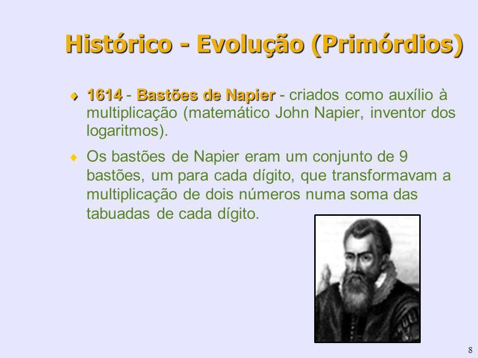 8 1614Bastões de Napier 1614 - Bastões de Napier - criados como auxílio à multiplicação (matemático John Napier, inventor dos logaritmos). Os bastões