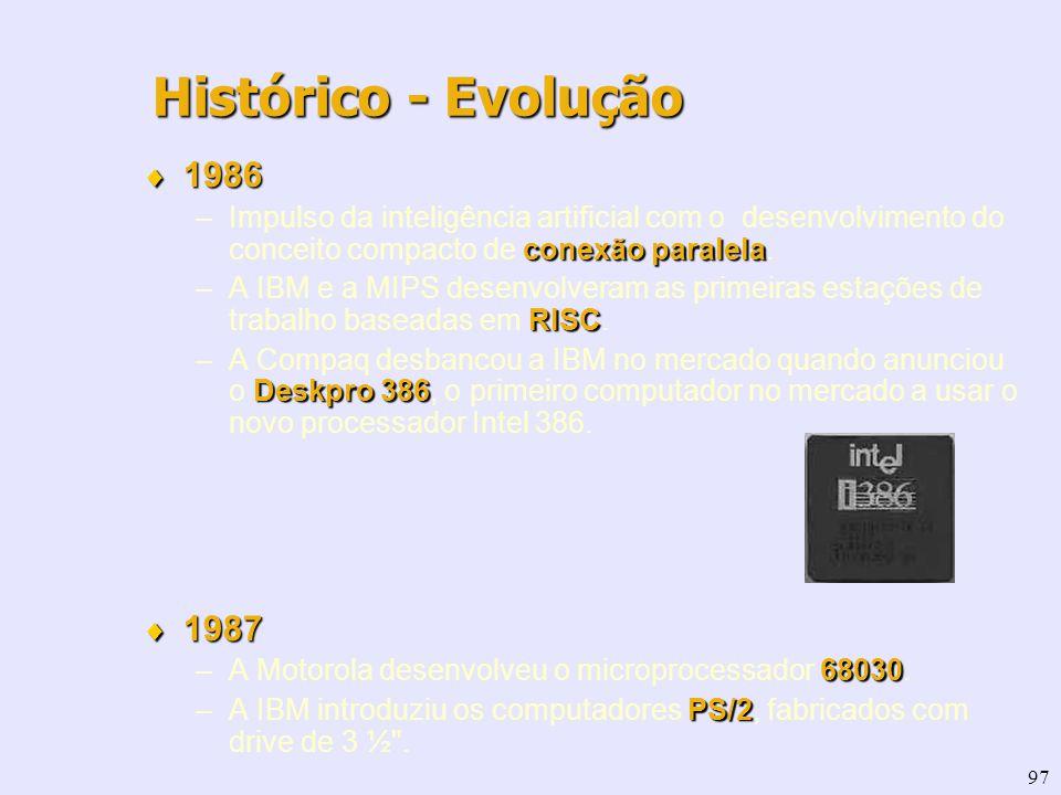 97 1986 1986 conexão paralela –Impulso da inteligência artificial com o desenvolvimento do conceito compacto de conexão paralela. RISC –A IBM e a MIPS