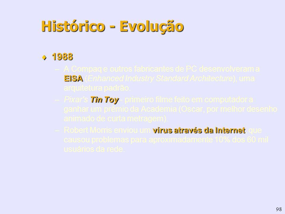 98 1988 1988 EISA –A Compaq e outros fabricantes de PC desenvolveram a EISA (Enhanced Industry Standard Architecture), uma arquitetura padrão. Tin Toy
