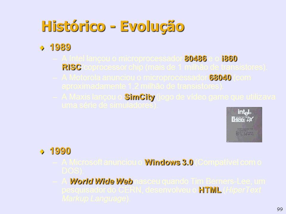 99 1989 1989 80486i860 RISC –A Intel lançou o microprocessador 80486 e o i860 RISC/coprocessor chip (mais de 1 milhão de transistores). 68040 –A Motor